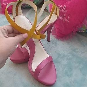 "Bebe pink, yellow and green 1"" platform + 3"" heels"